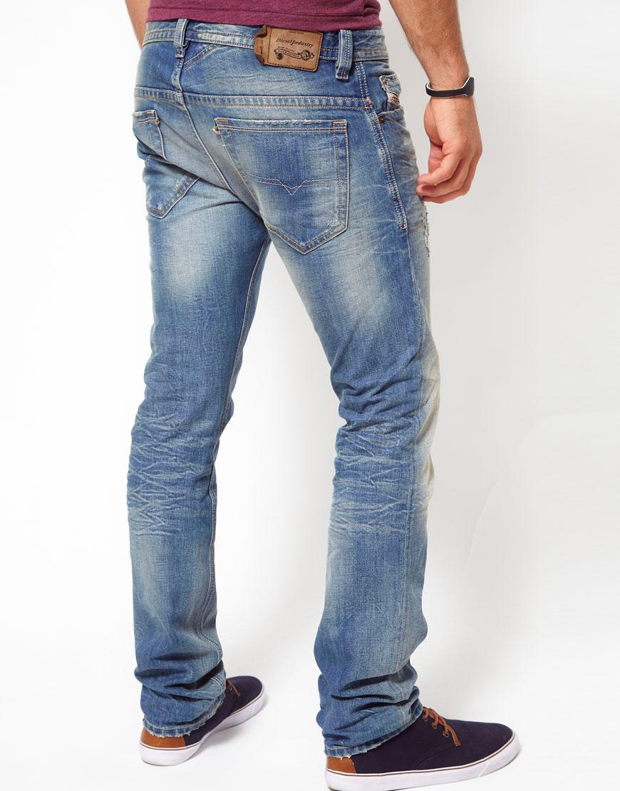 diesel jeans thavar slim fit light wash in blue for men lyst. Black Bedroom Furniture Sets. Home Design Ideas