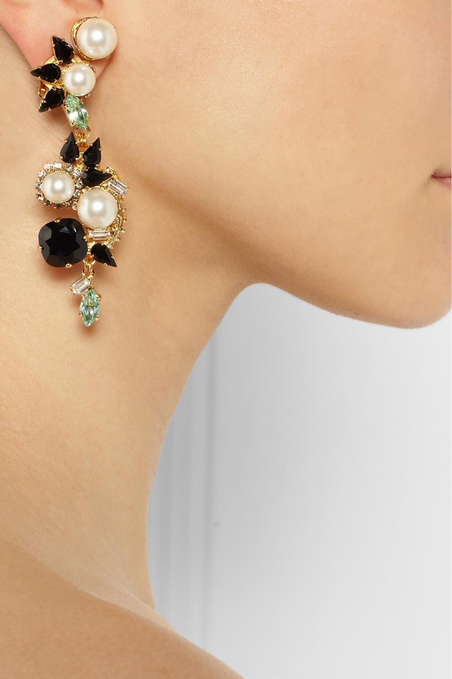 Lyst Erdem Vickisarge Goldplated Swarovski Pearl And