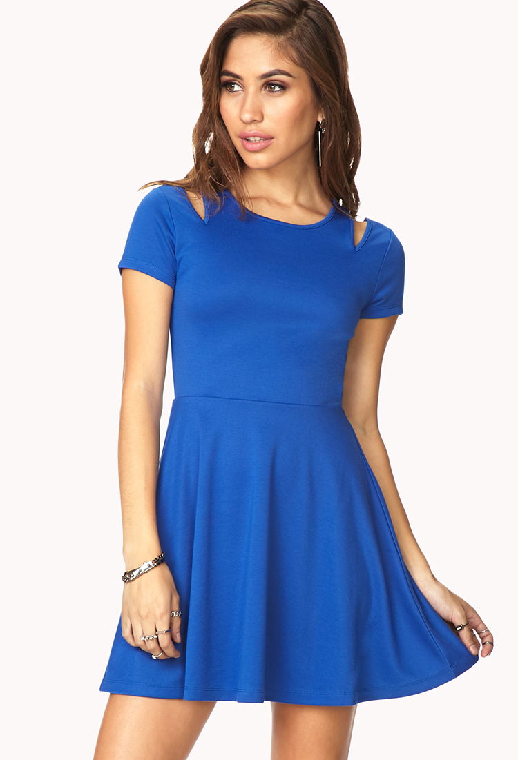 Forever 21 Cool Girl Fit Amp Flare Dress In Blue Lyst