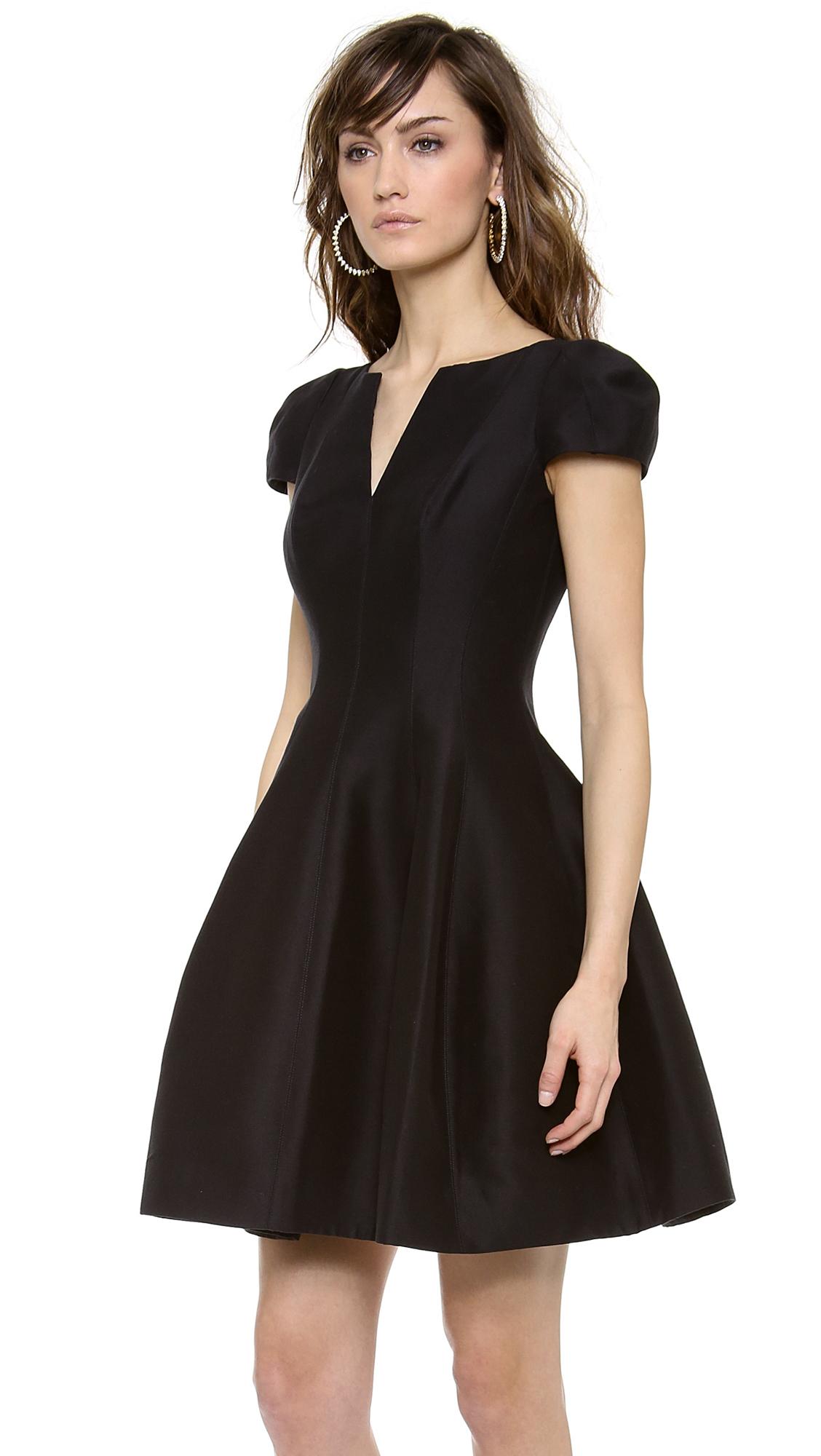 Lyst Halston Notch Neck Dress In Black