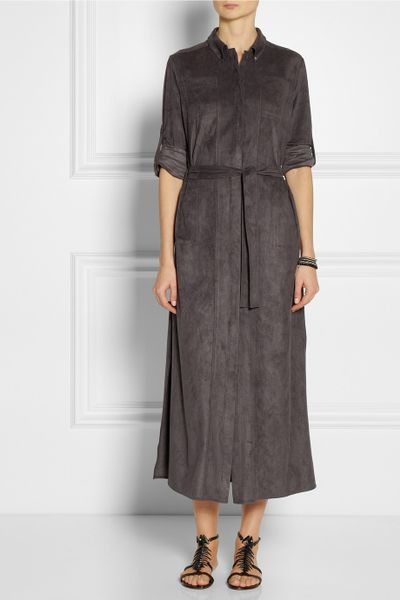 Halston heritage stretch faux suede shirt dress in gray lyst for Halston heritage shirt dress