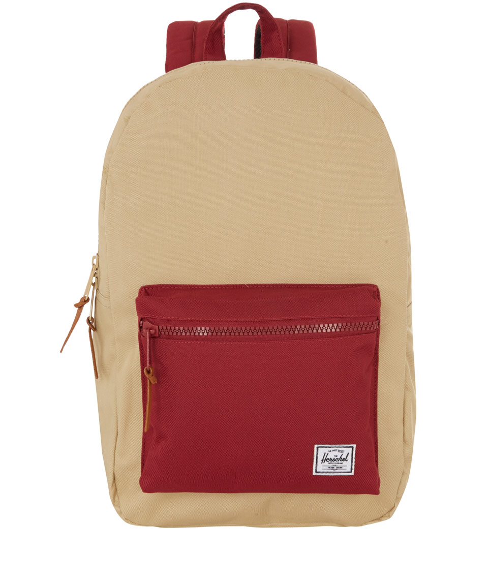 Lyst - Herschel Supply Co. Beige Two Tone Settlement Backpack in Red ... dfab1cac279bb