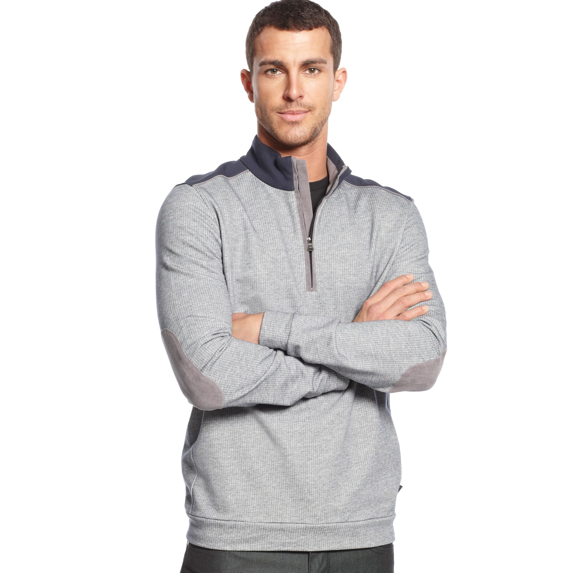 hugo boss boss quarter zip pullover sweater in gray for men light. Black Bedroom Furniture Sets. Home Design Ideas