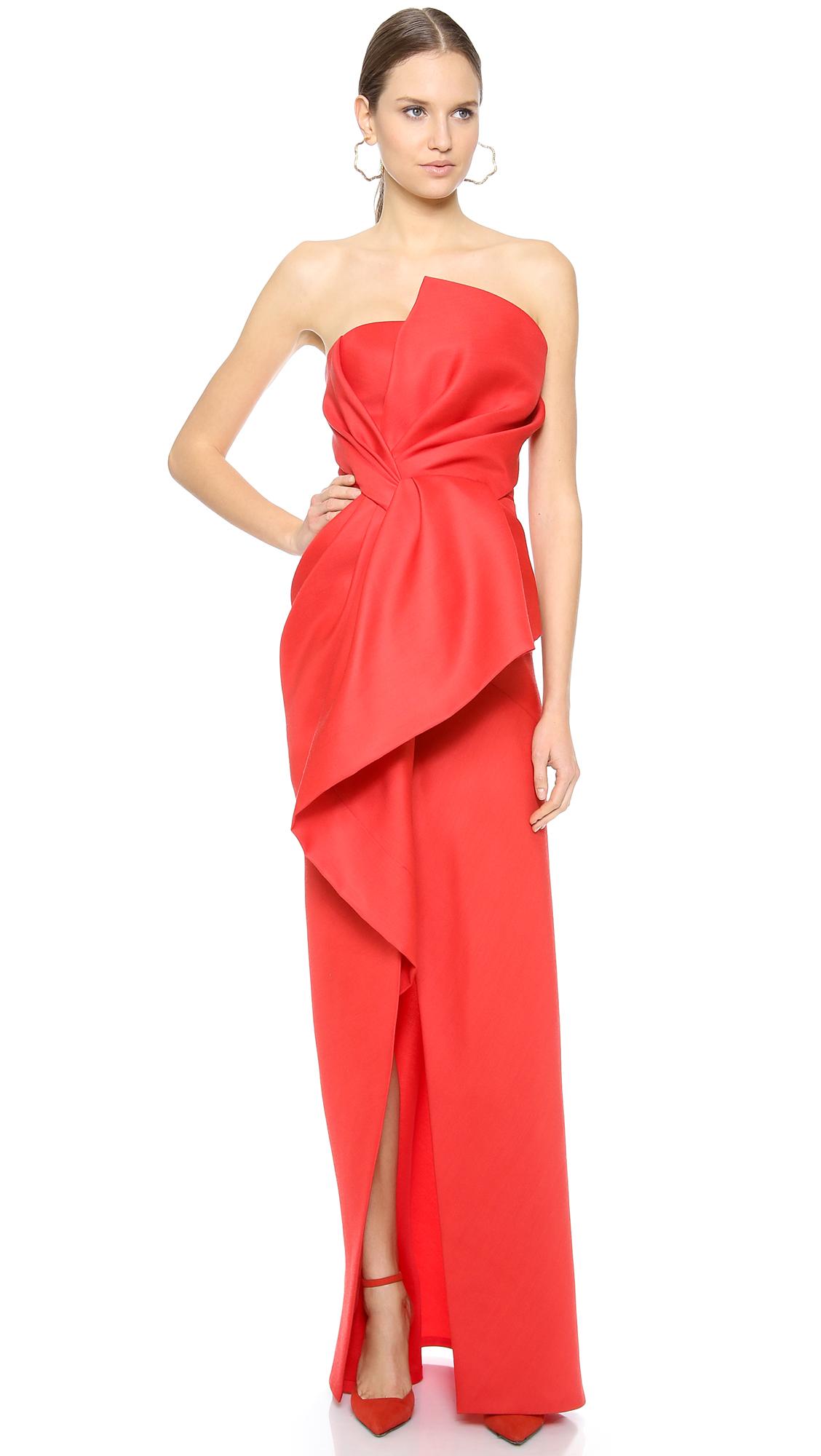 J. Mendel Strapless Asymmetrical Peplum Gown in Red - Lyst