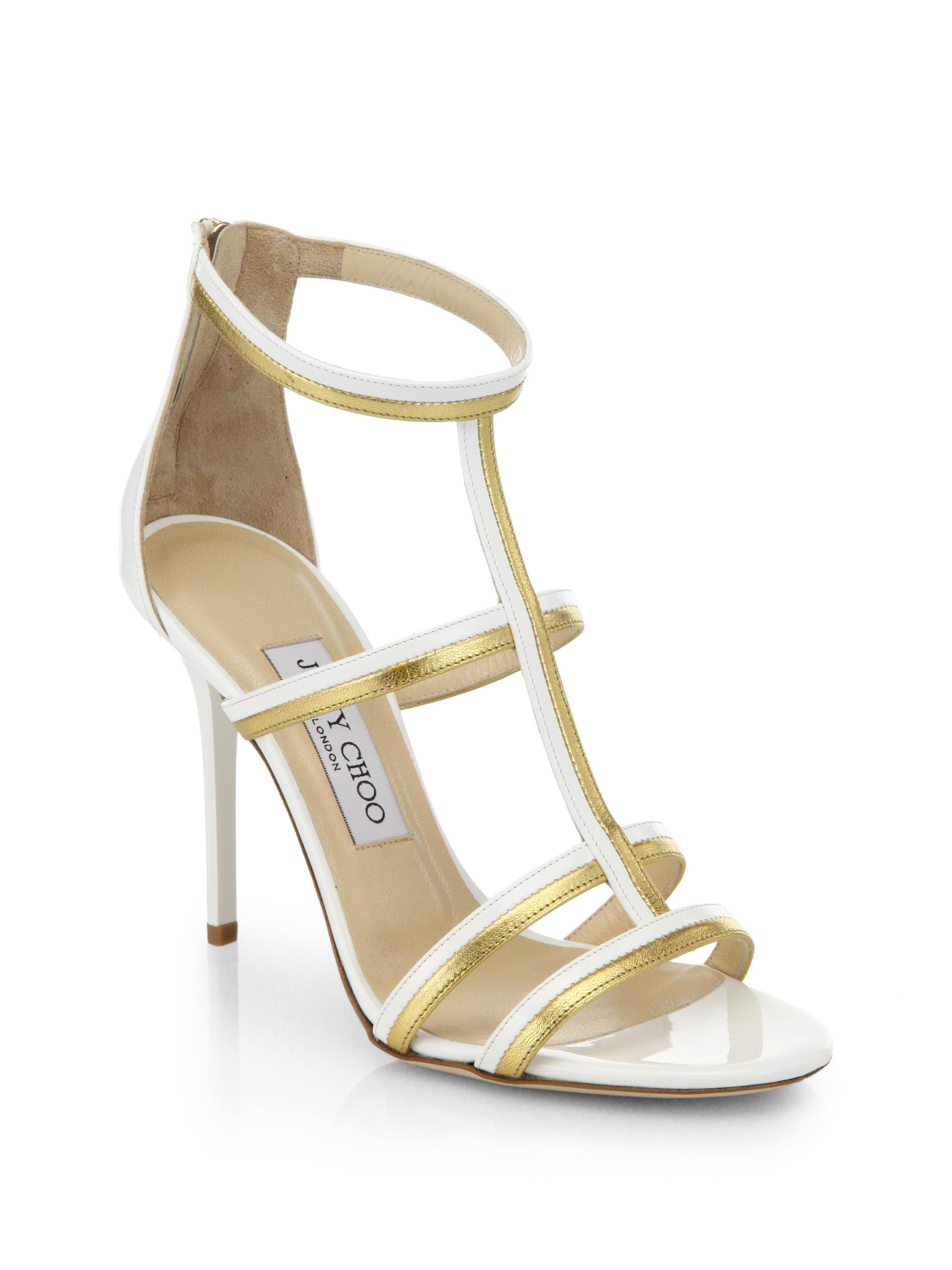 Jimmy Choo Thistle Patent Metallic Leather Sandals
