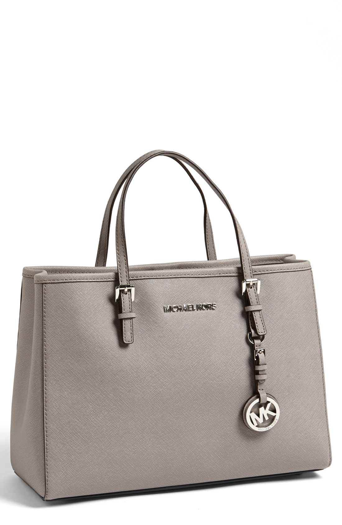 39971e216d5c88 Michael michael kors Jet Set Medium Saffiano Leather Tote in Gray | Lyst