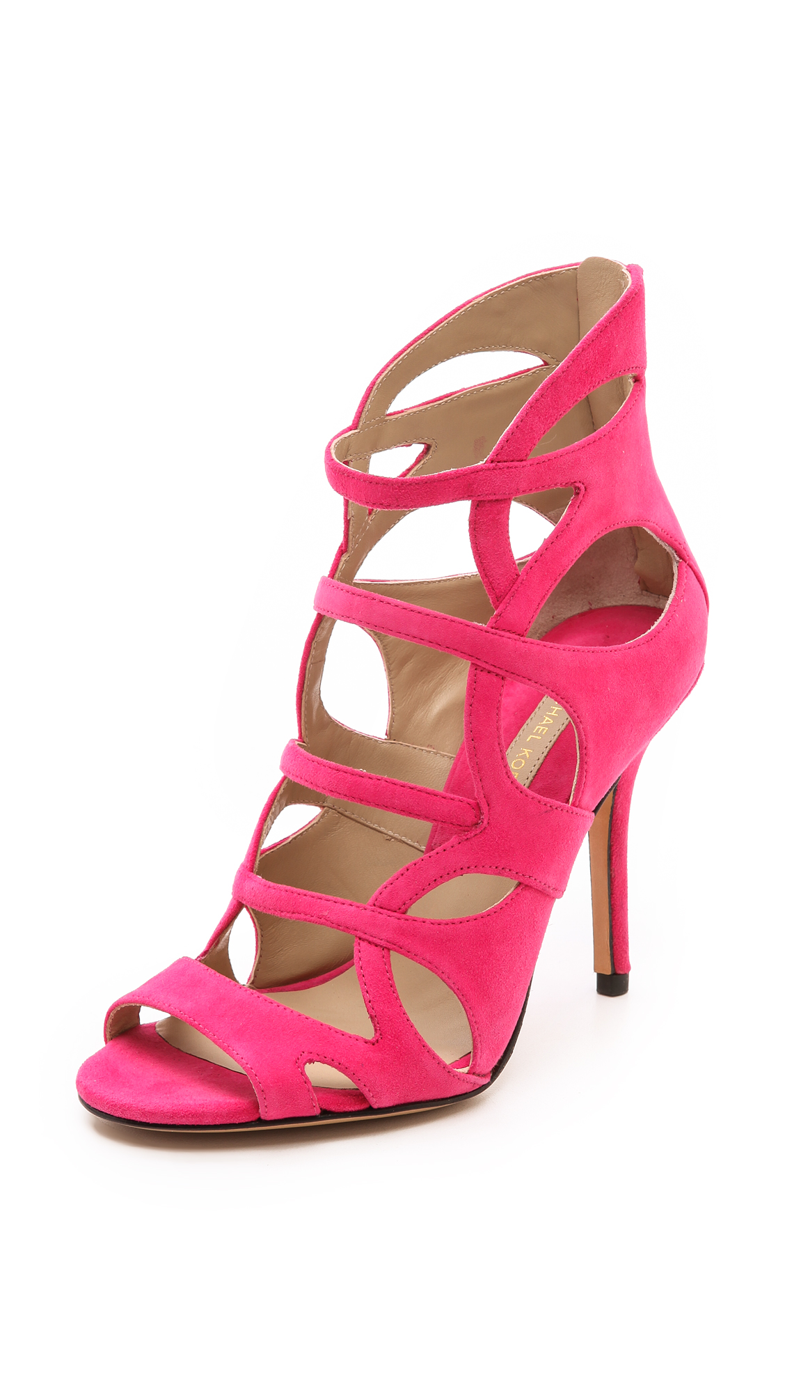 Michael Kors Casey Cutout Sandals Black In Rose Patent