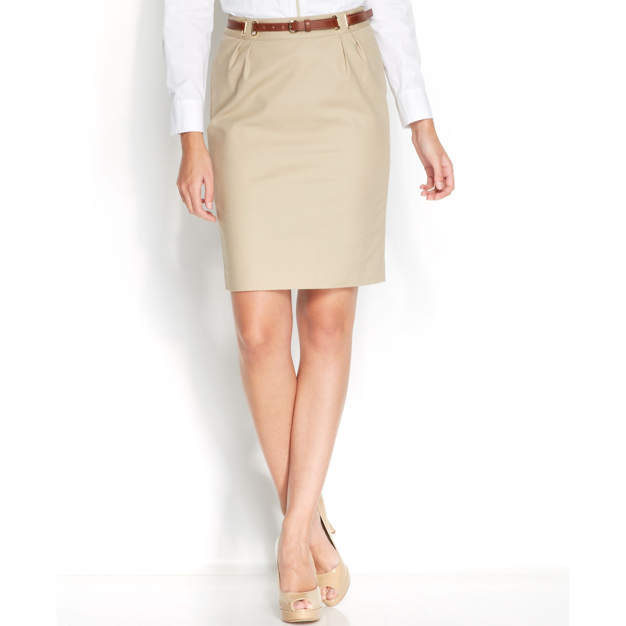 Michael kors Belted Hardware Pencil Skirt in Natural | Lyst