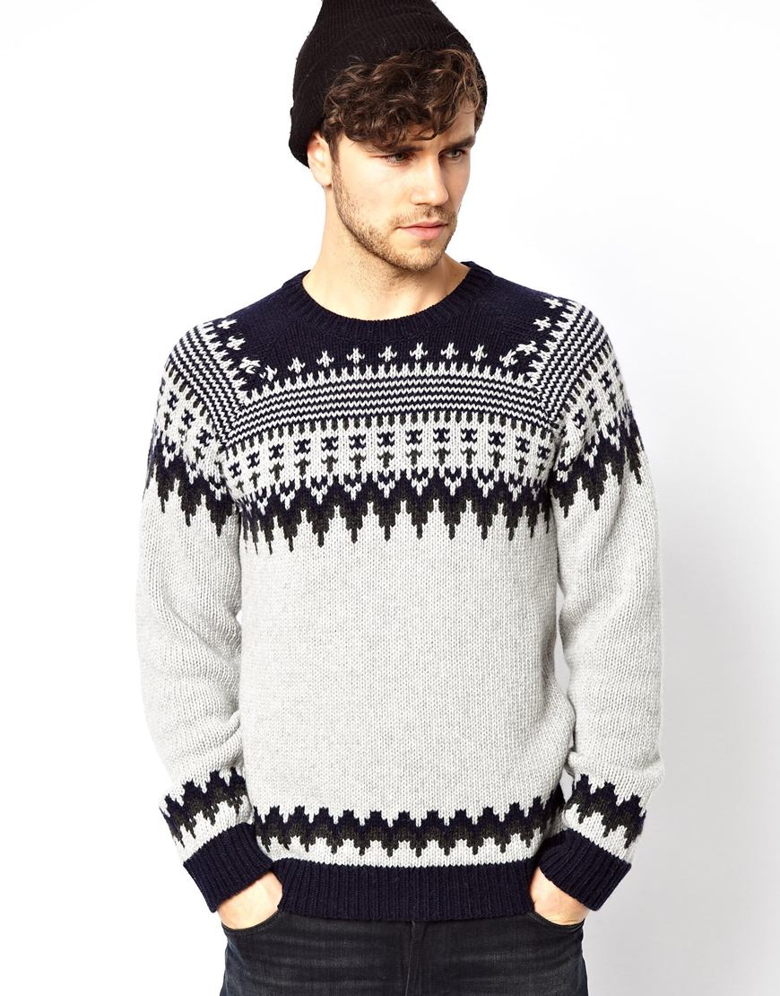 c8920a9218c Nudie Jeans Black Nudie Crew Knit Sweater Baldvin Nordic Jacquard for men