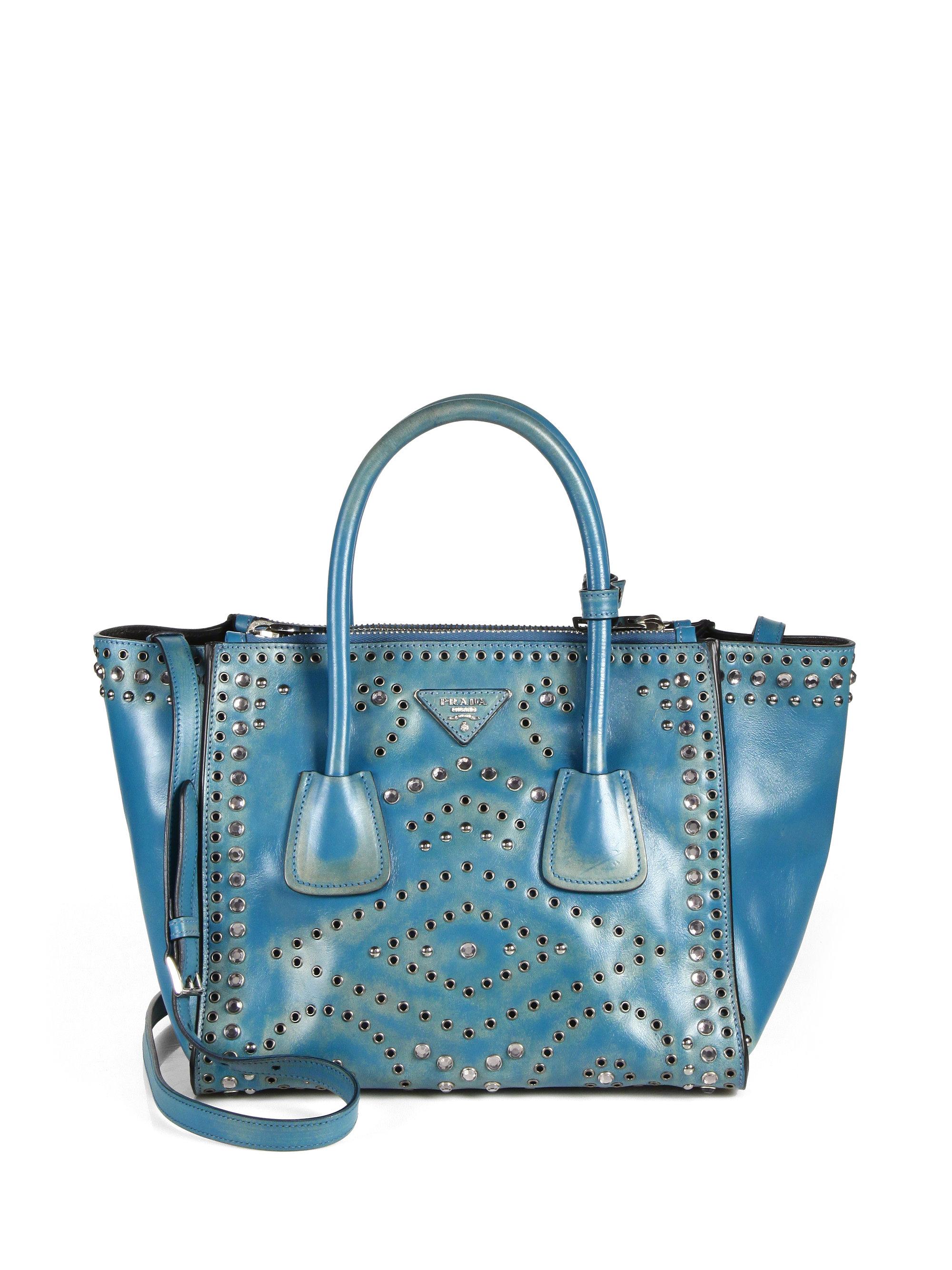 ... Daino Single Strap Tote Bag in Black  size 40 b81c4 49614 Prada Vitello  Vintage Embellished Tote in Blue - Lyst ... 4dd58ef6e1
