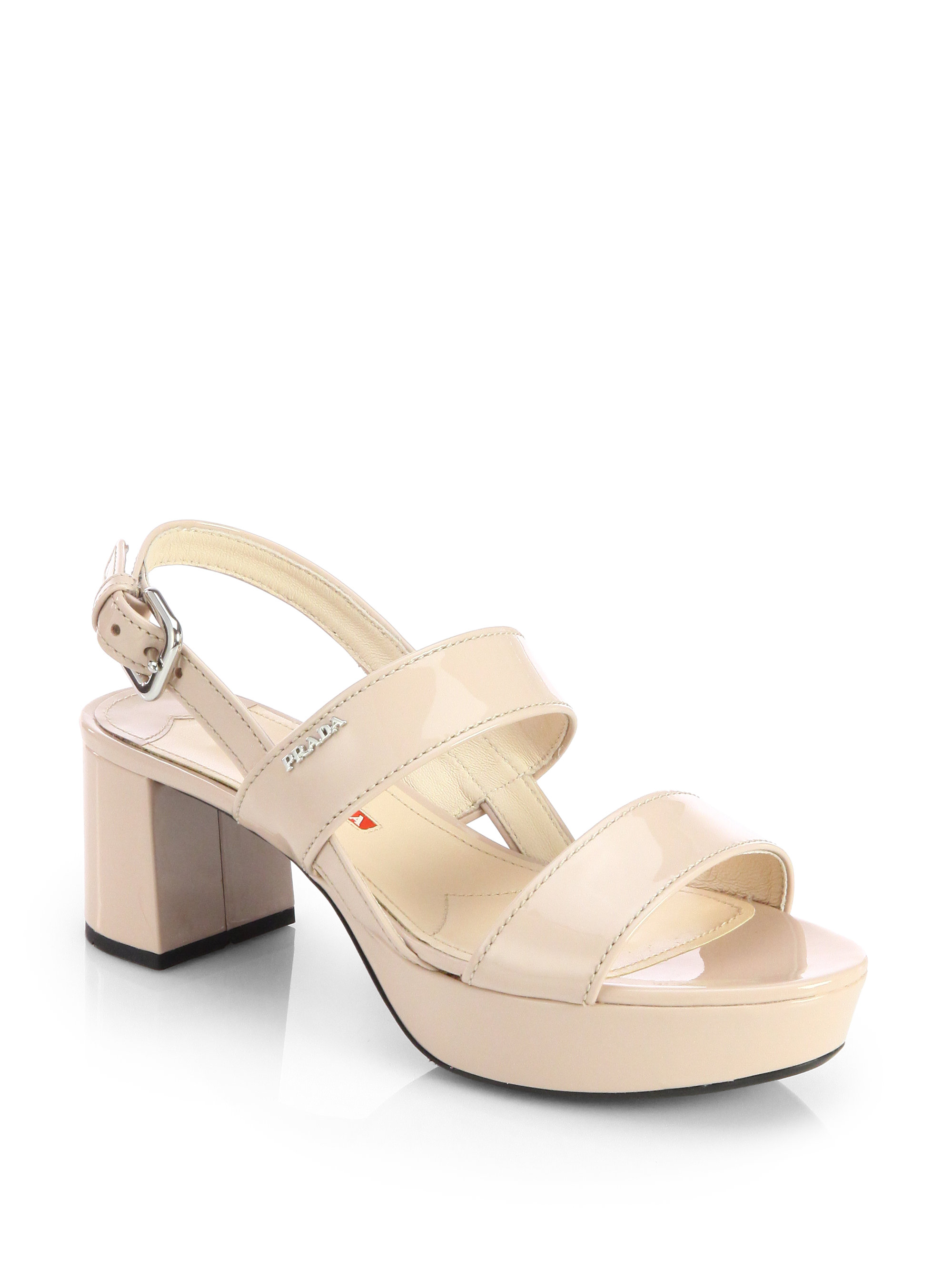 484aa14604603 Prada Patent Leather Block-Heel Sandals in Natural - Lyst