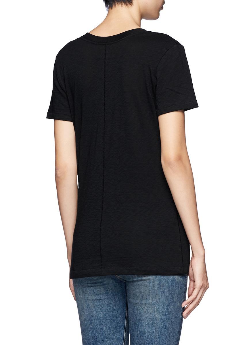 Rag bone 39 the classic 39 v neck t shirt in black lyst for Rag bone shirt