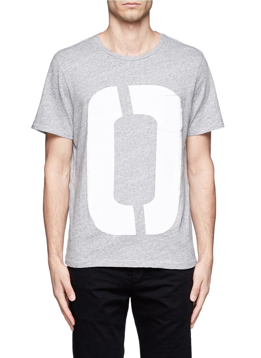 Rag bone random number print cotton t shirt in gray for for Random t shirt generator