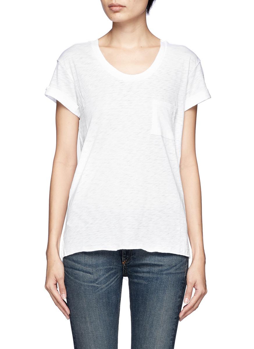 Rag bone 39 the pocket 39 t shirt in white lyst for Rag and bone t shirts