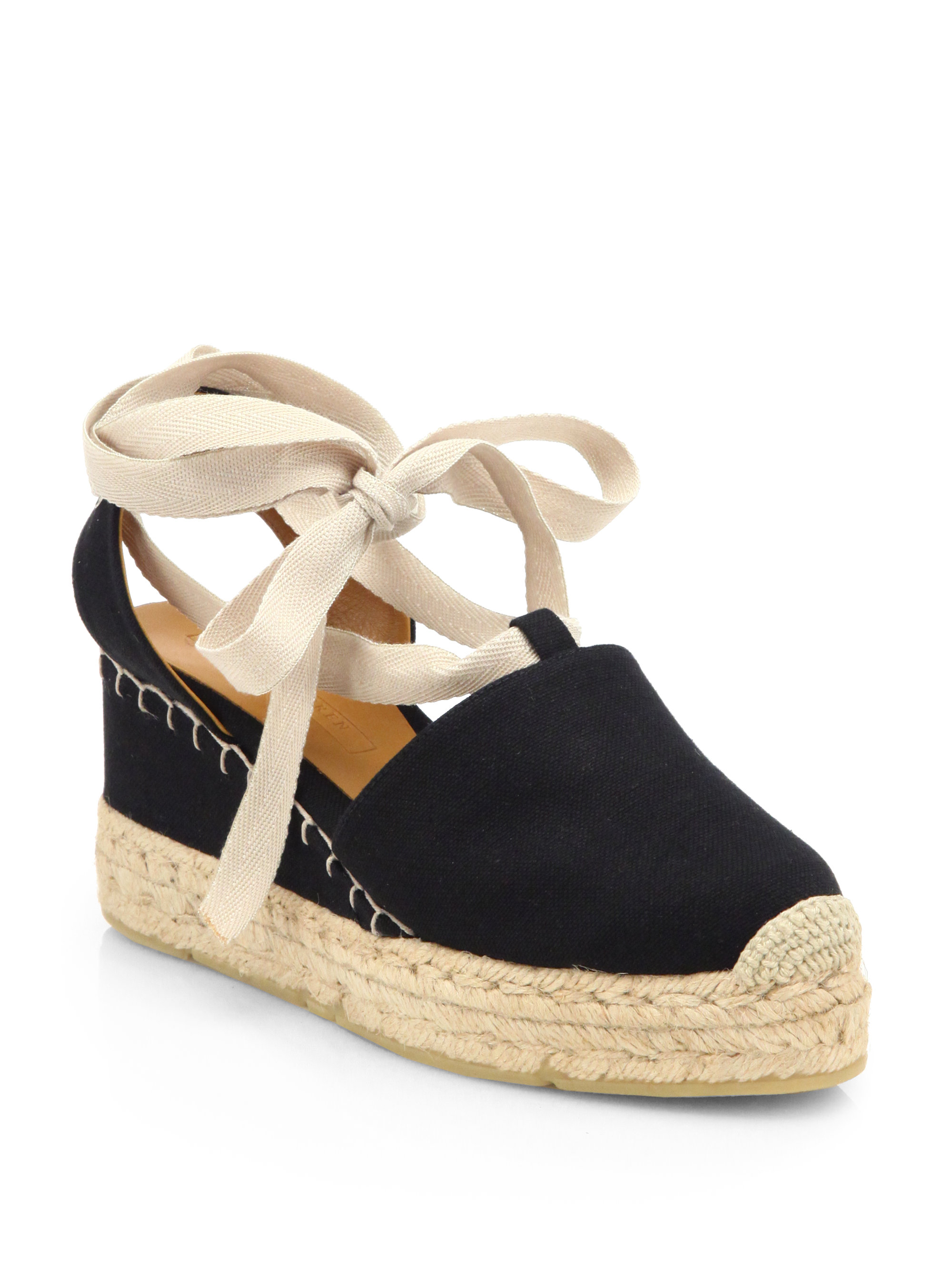 ralph lauren collection uma tieup canvas espadrille sandals in black lyst. Black Bedroom Furniture Sets. Home Design Ideas