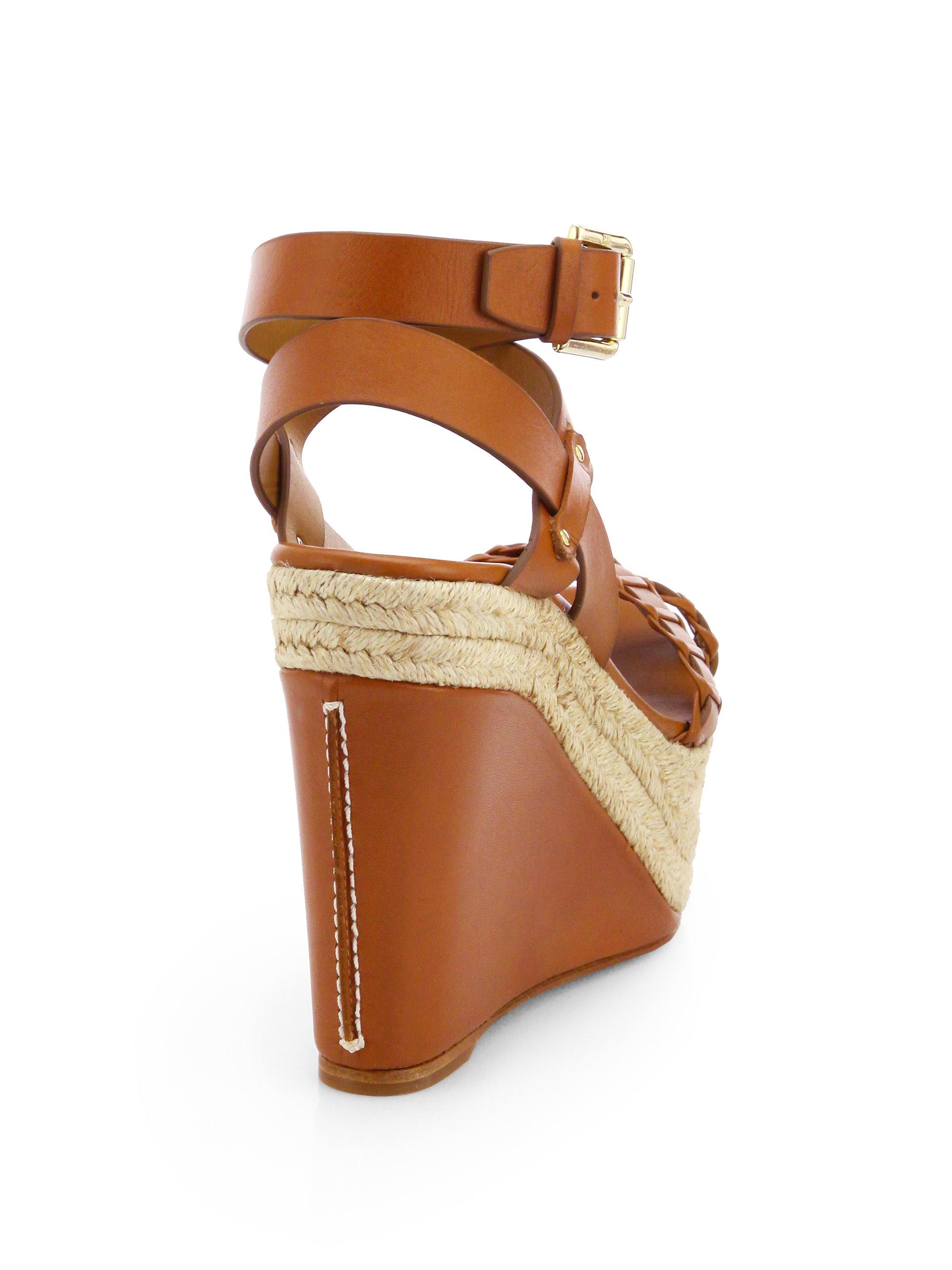 Ralph Lauren Collection Filipina Leather Espadrille Wedge