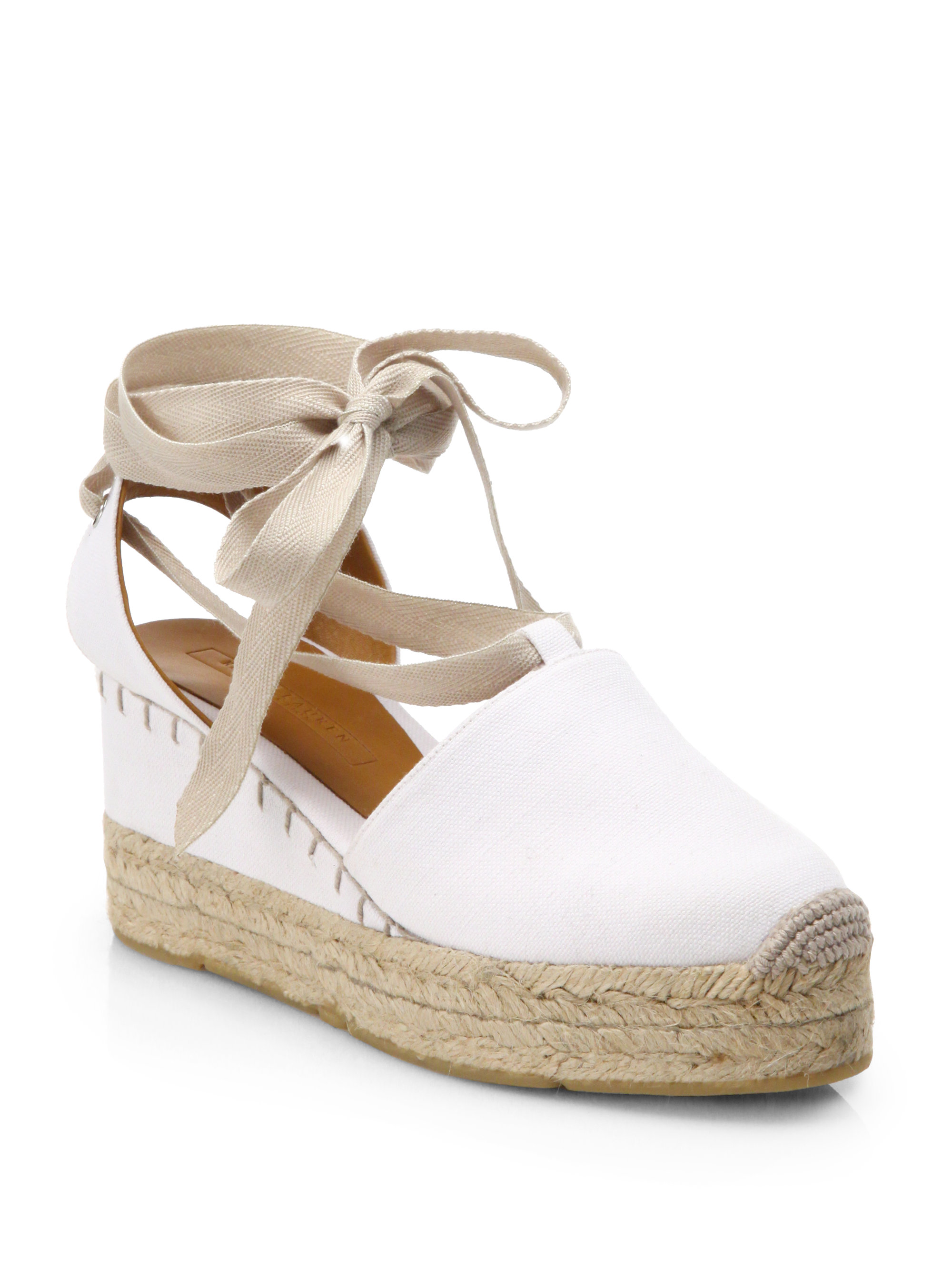 320aa6237ae Ralph Lauren Collection White Uma Tieup Canvas Espadrille Sandals