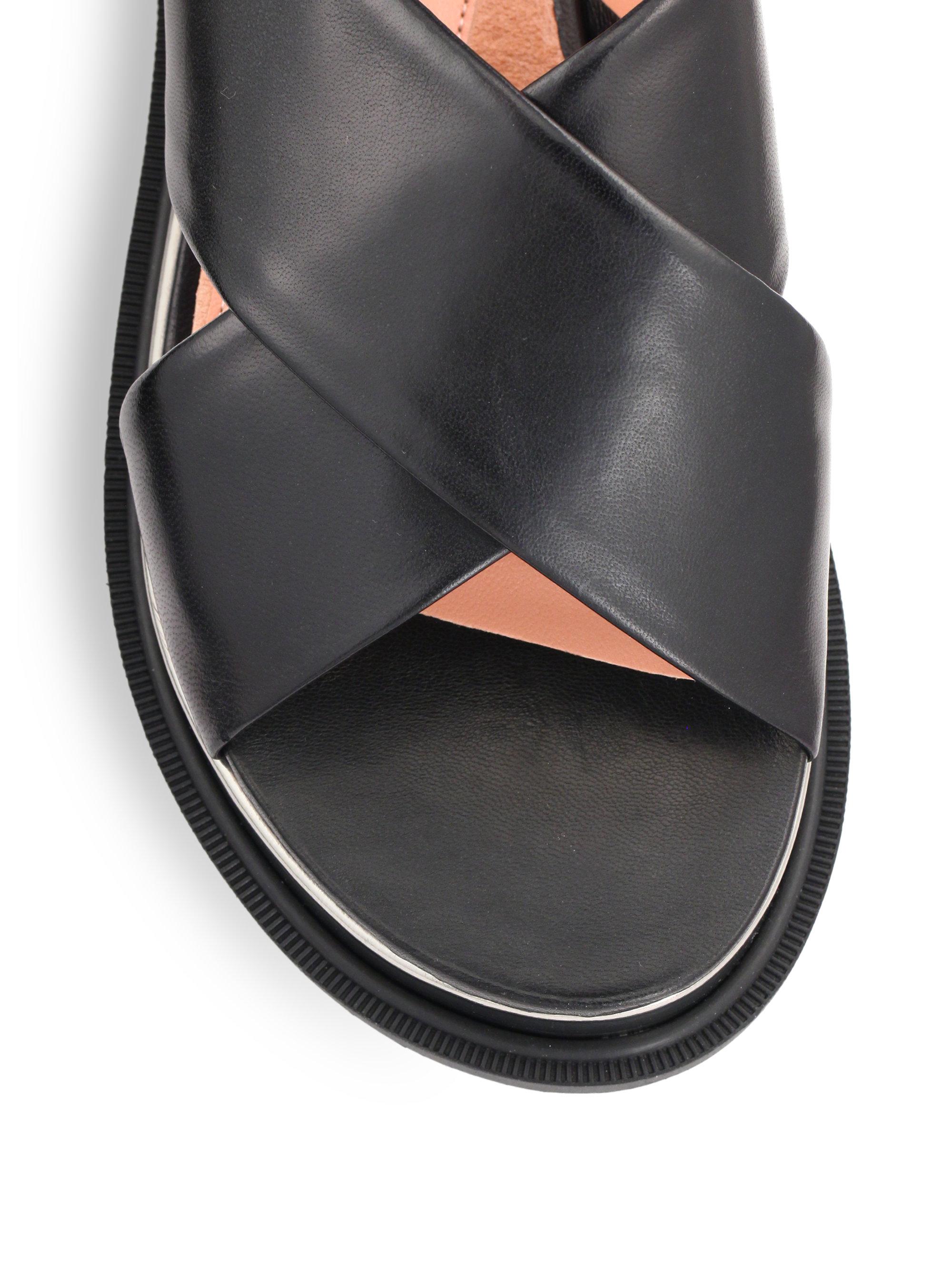 Robert Clergerie Caliba Crisscross Leather Sandals In