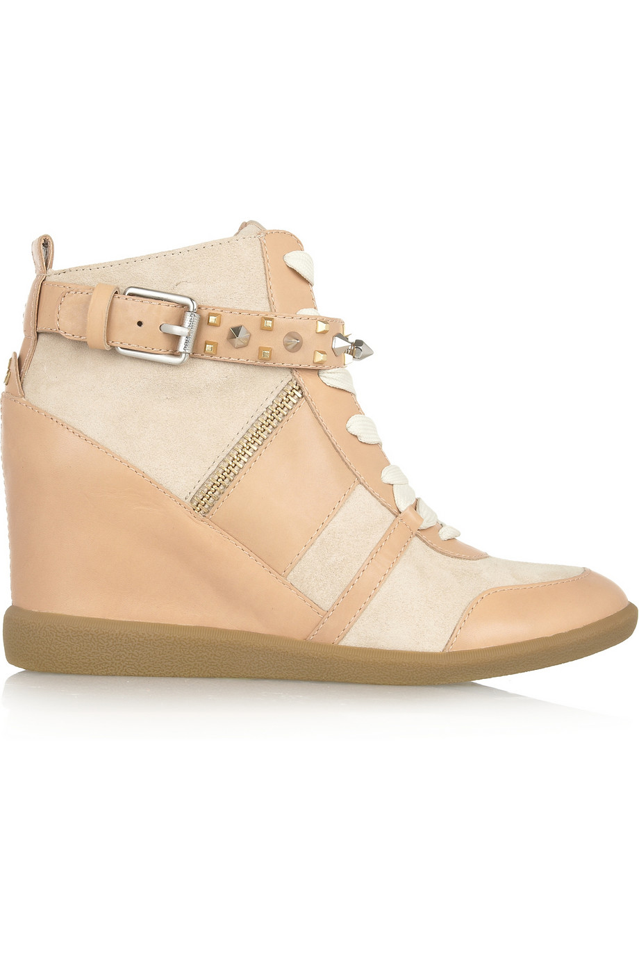 4981a6a2e0ace0 Sam Edelman Brogan Suede and Leather Wedge Sneakers in Natural - Lyst