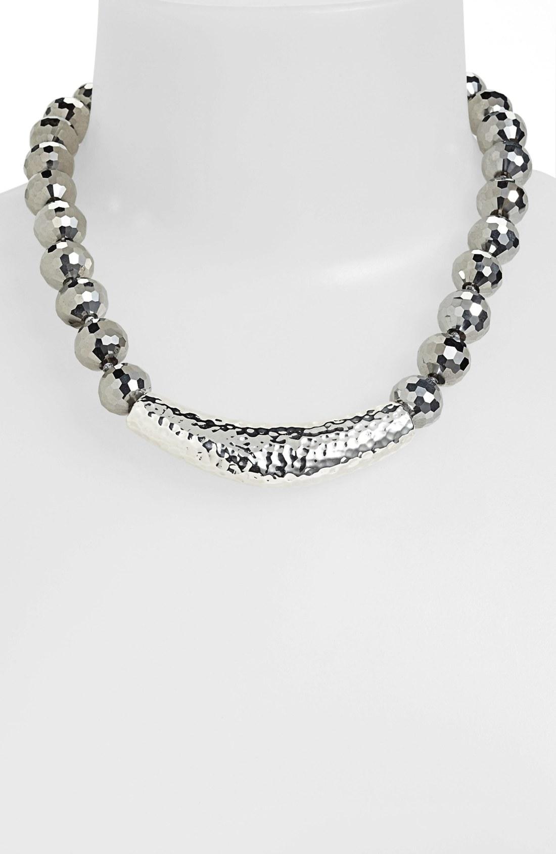 simon sebbag hammered bar pendant collar necklace in