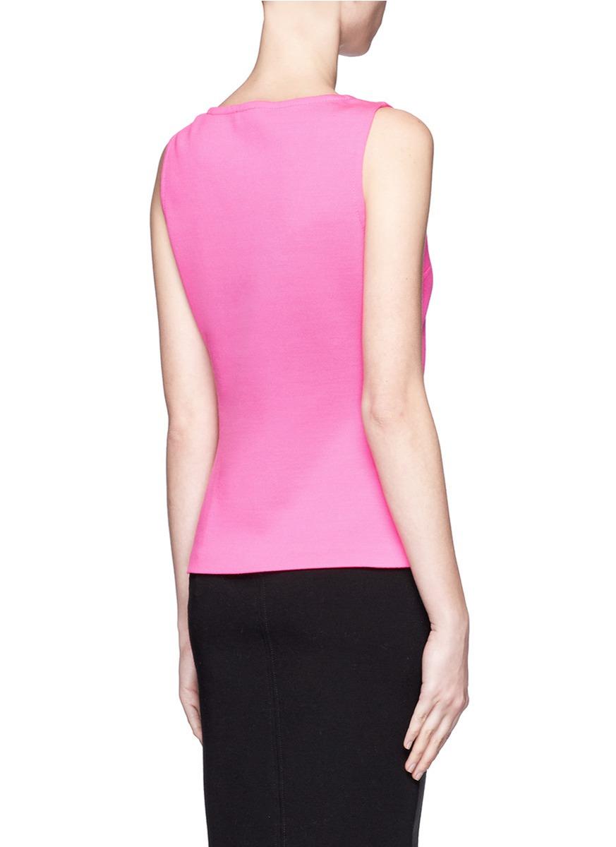 Lyst St John Wool Sleeveless Knit Top In Pink