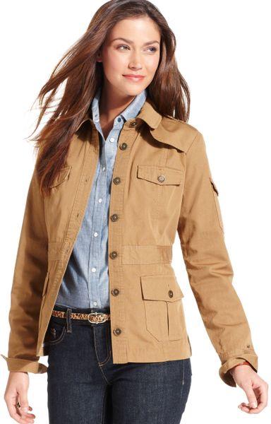 Tommy Hilfiger Lightweight Safari Jacket in Khaki | Lyst