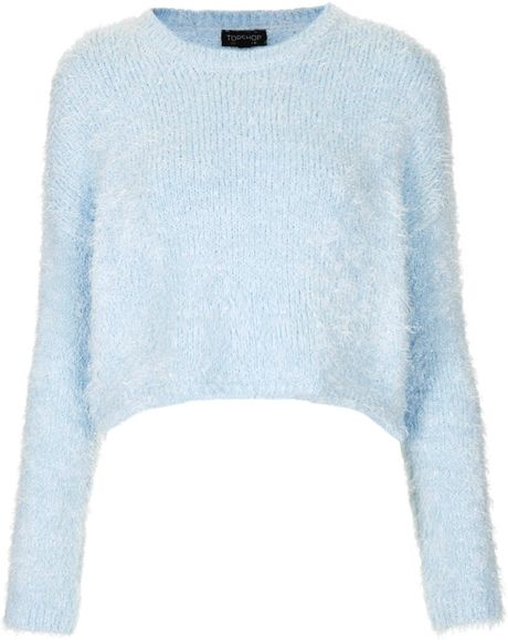 Topshop Knitted Fluffy Crop Jumper in Blue (PALE BLUE) Lyst