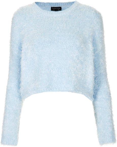 Knitting Pattern Fluffy Jumper : Topshop Knitted Fluffy Crop Jumper in Blue (PALE BLUE) Lyst