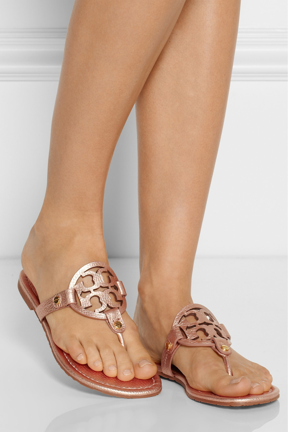 9c4d5ef259d7f8 Lyst - Tory Burch Miller Metallic Leather Sandals in Pink
