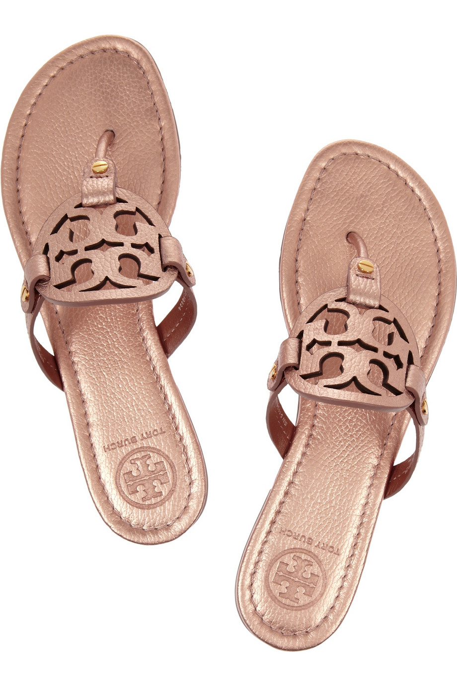 0b78960693e5f5 Lyst - Tory Burch Miller Metallic Leather Sandals in Pink