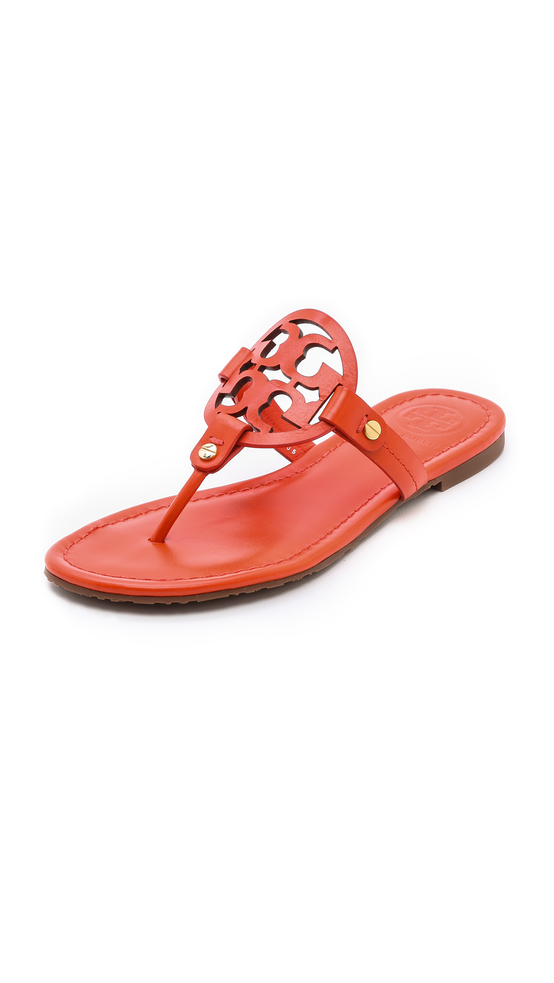 Tory Burch Miller Logo Sandals In Orange Tiger Lily Lyst