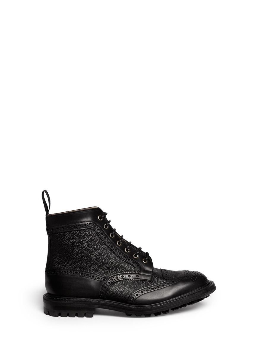 tricker s twotoned leather brogue boots in black for