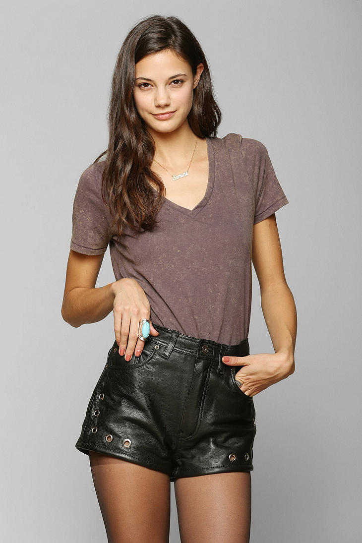Urban outfitters Renewal Eyelet Leather Short in Black