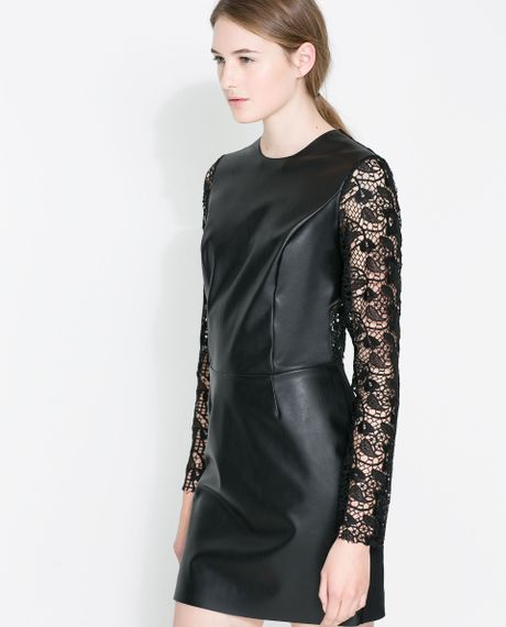 Zara Lace Faux Leather Dress In Black Lyst