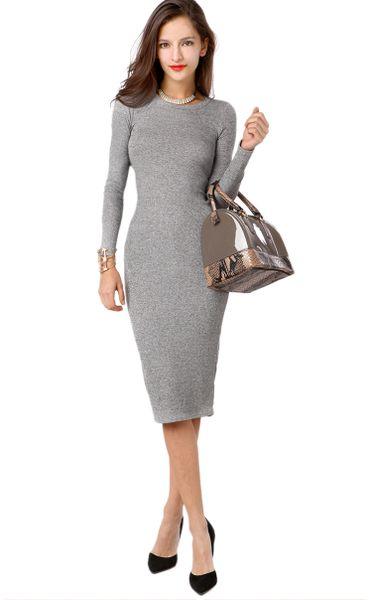 Grey Knit Dresses - Bronze Cardigan