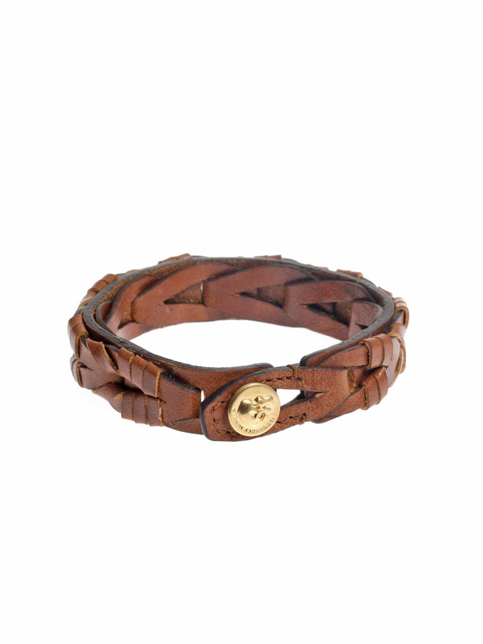 Lyst Alexander Mcqueen Braided Leather Bracelet In Brown