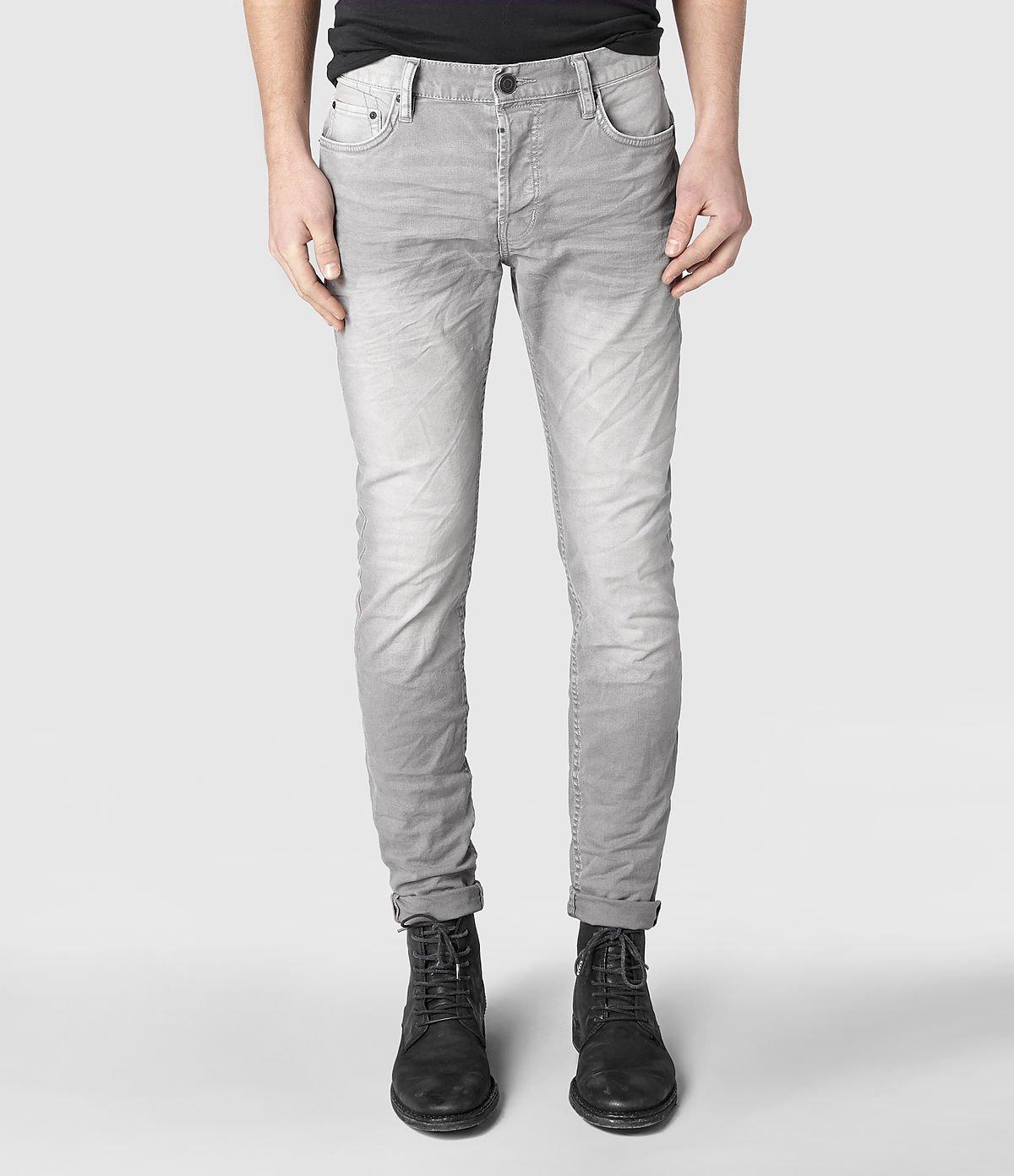 allsaints asahi cigarette jeans in light grey gray for