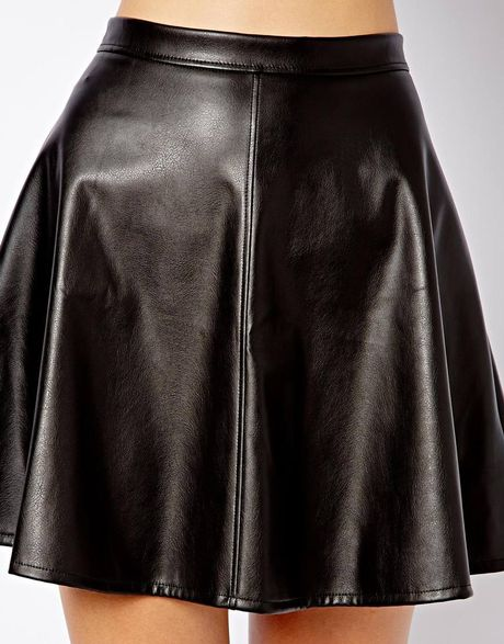 asos new look leather look skater skirt in black lyst