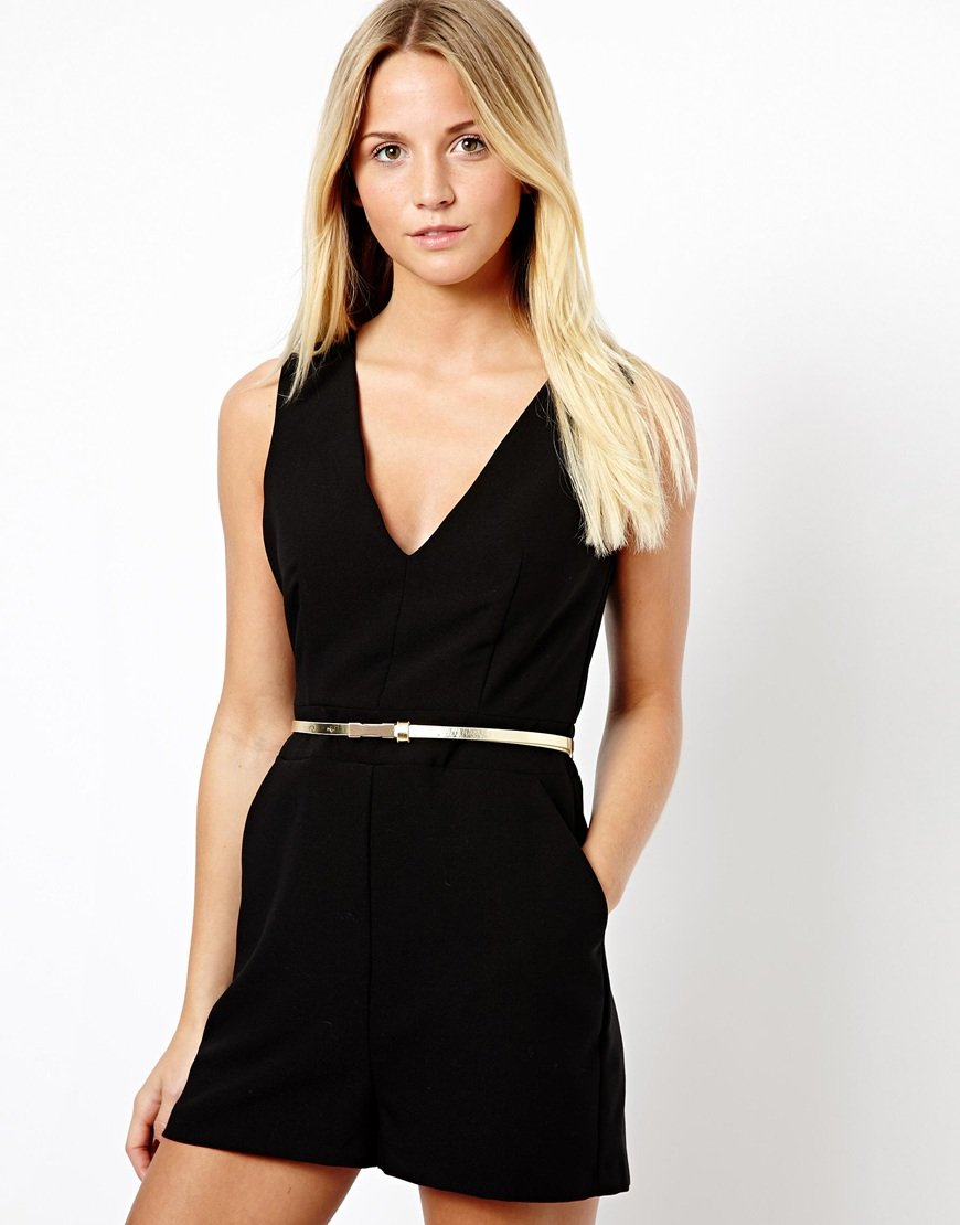 9fdcb039776 Lyst - ASOS New Look V Neck Playsuit in Black