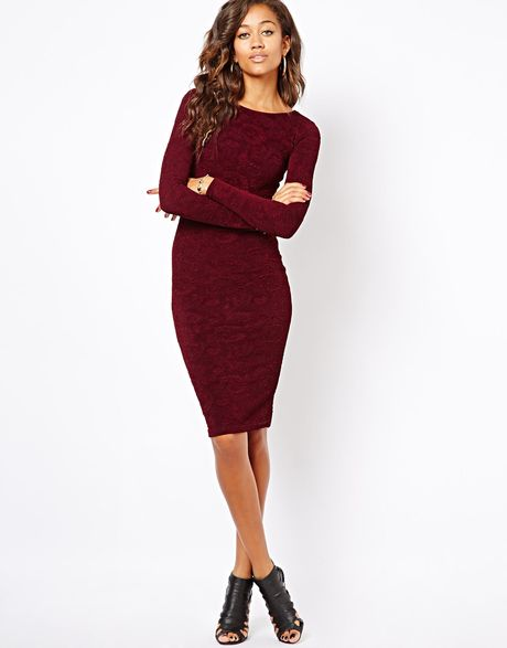 Asos River Island Bodycon Textured Midi Dress in Red (Darkred)