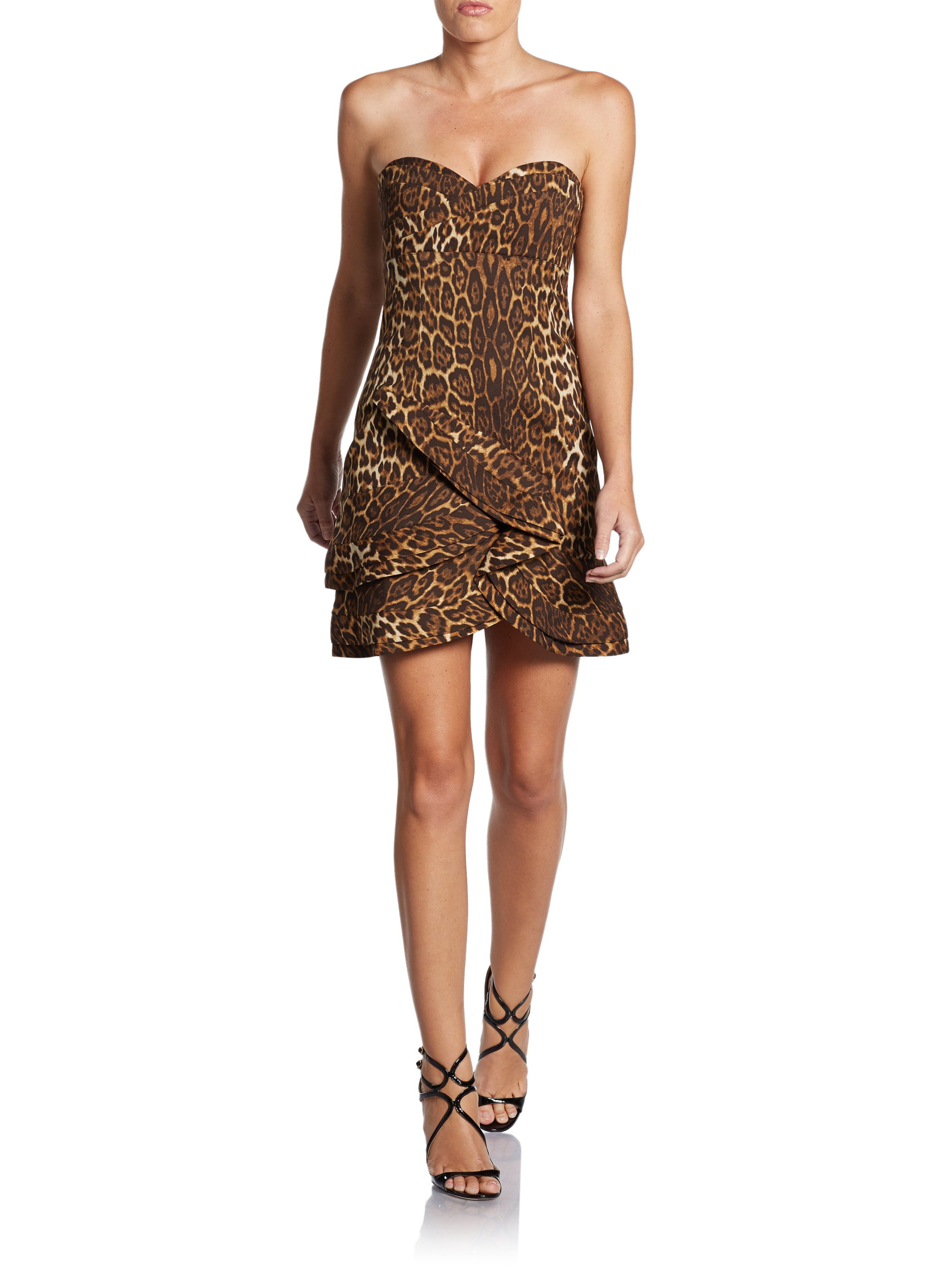 Bcbgmaxazria Dorin Leopard Print Strapless Cocktail Dress