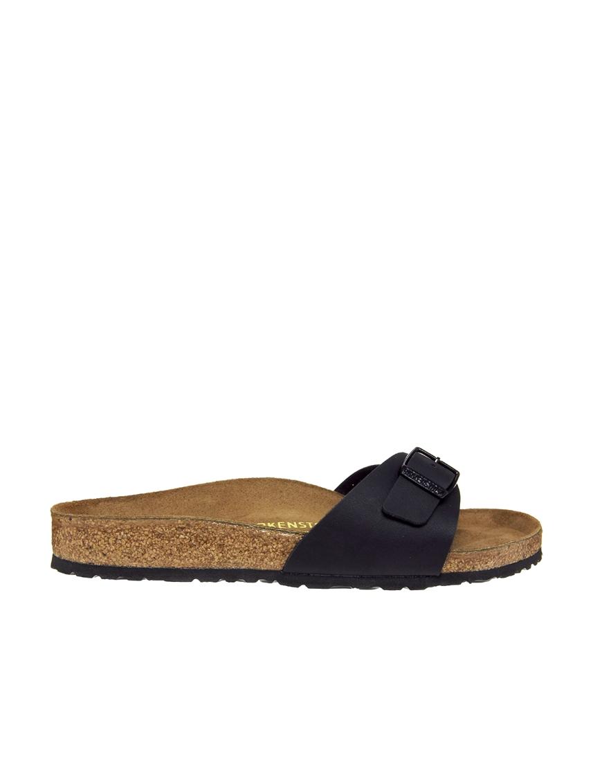 birkenstock black madrid flat sandals in blue blackmat. Black Bedroom Furniture Sets. Home Design Ideas