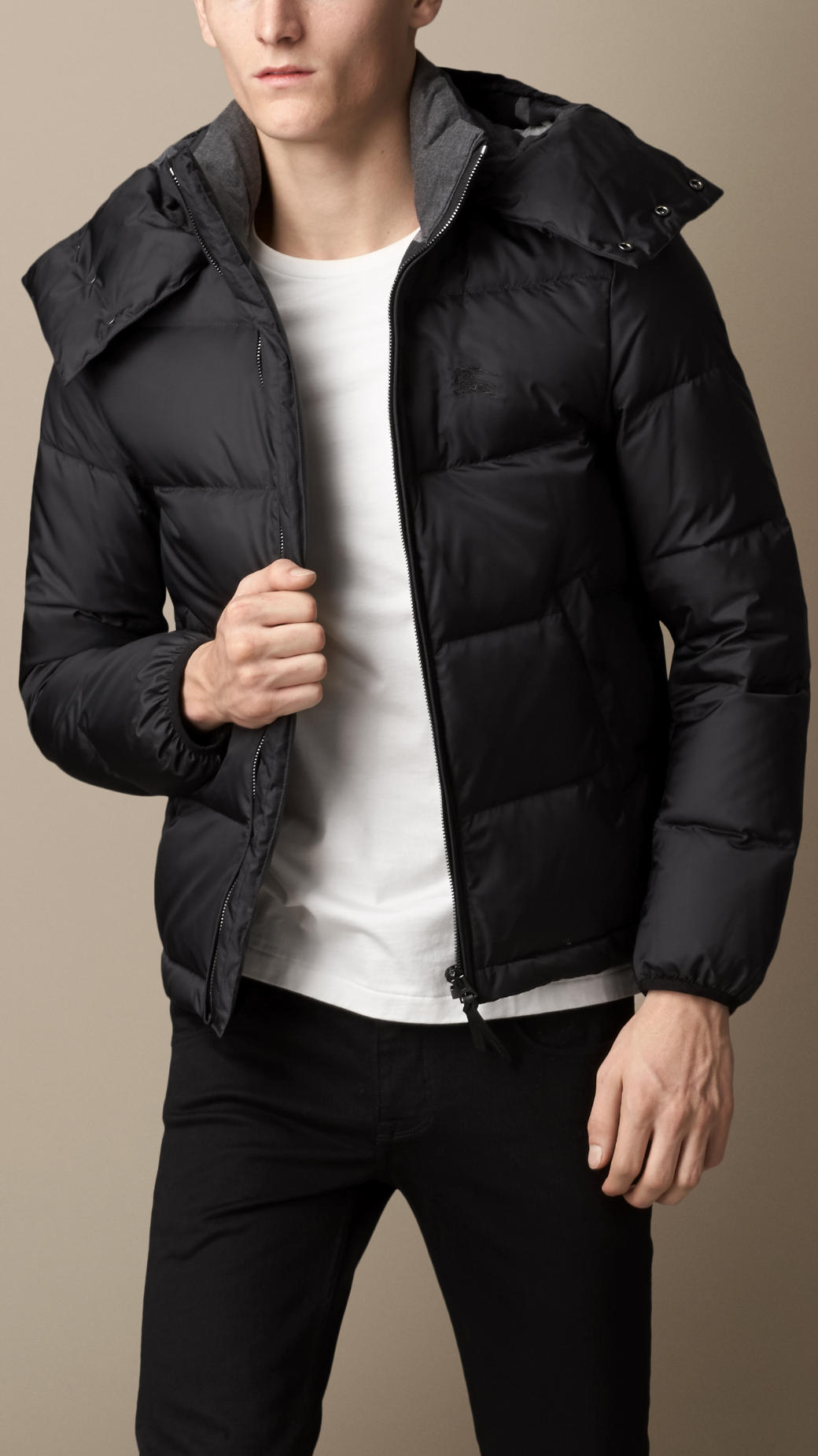 856b10ee Burberry Black Downfilled Hooded Puffer Jacket for men