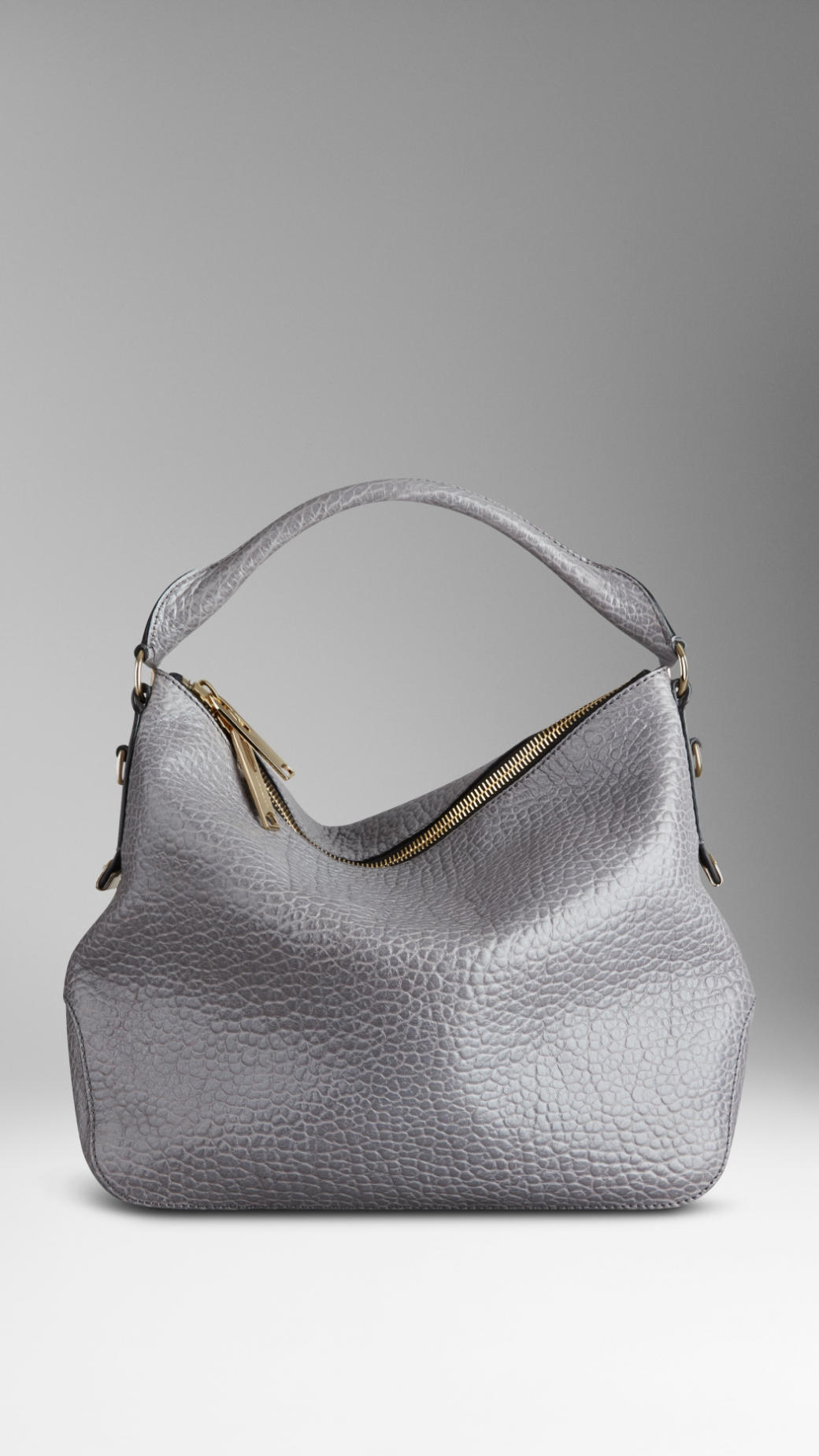 003931d91f3f Lyst Burberry Small Herie Grain Leather Hobo Bag In Gray