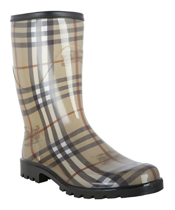 Burberry London Tan Nova Check Rubber Rain Boots in Natural for ...