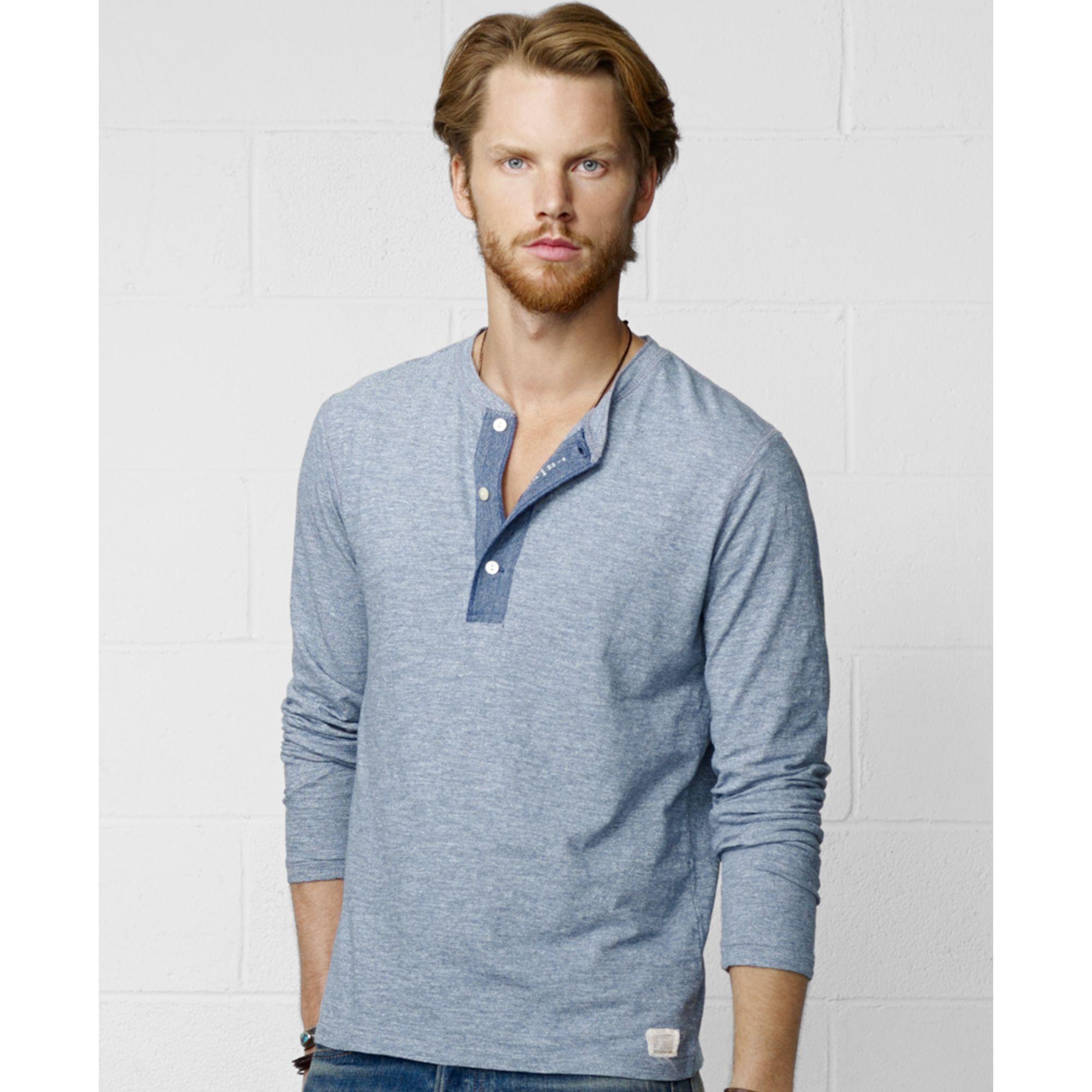 9e25dcbf Denim & Supply Ralph Lauren Henley Shirt in Blue for Men - Lyst
