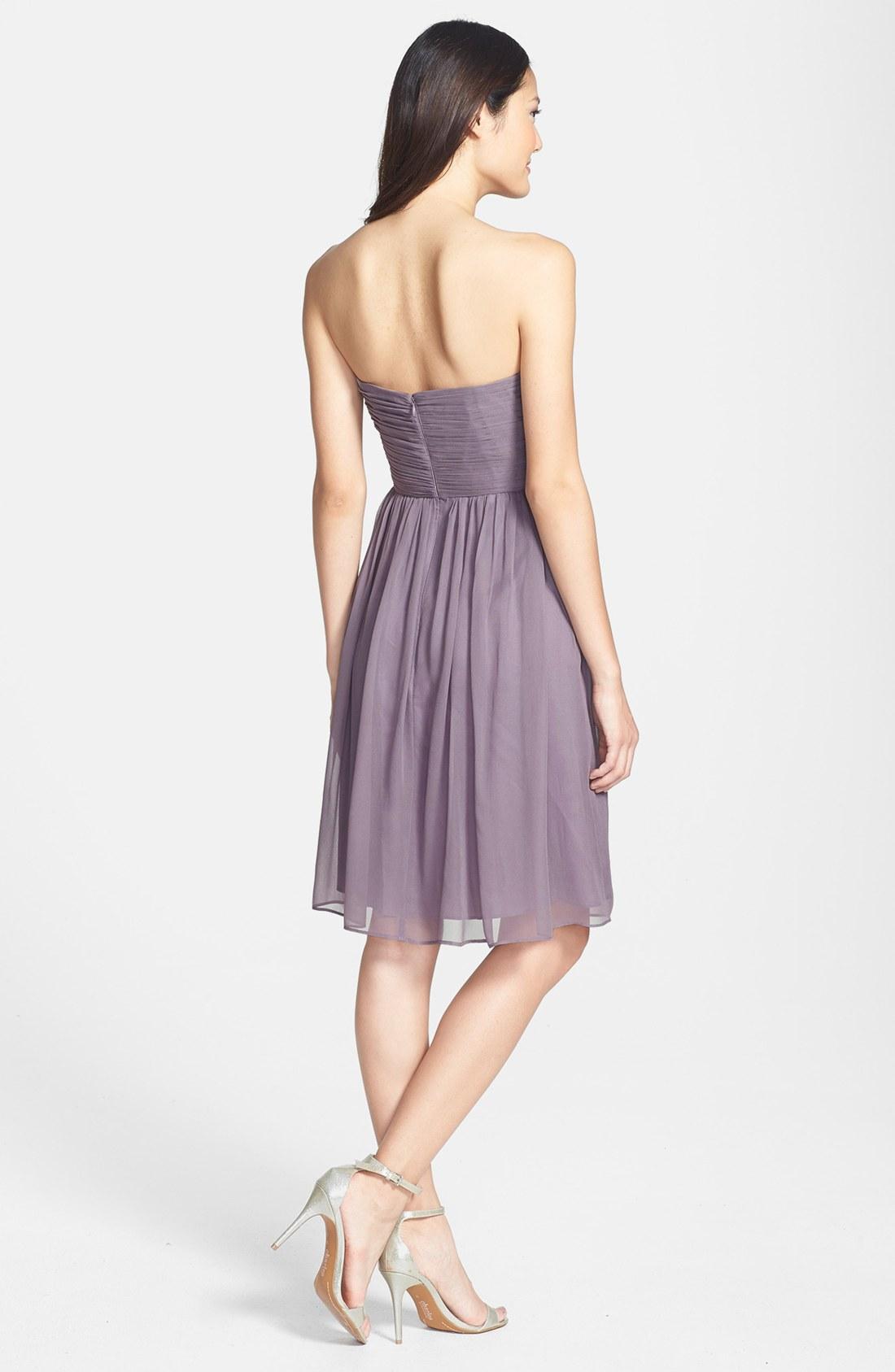 Donna morgan Morgan Strapless Silk Chiffon Dress in Gray | Lyst