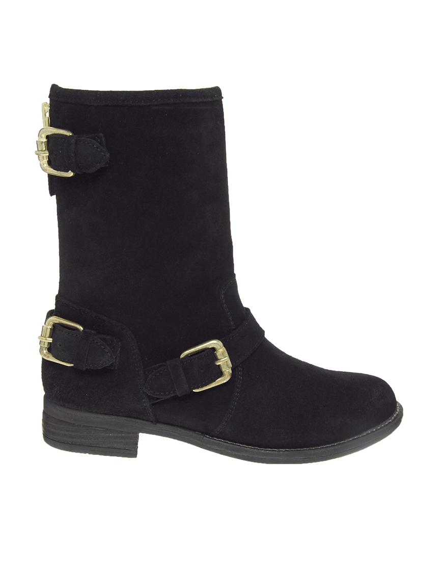dune riffy black suede biker boots in black lyst