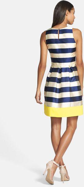 Eliza J Stripe Fit Flare Dress In Blue Navy Lyst