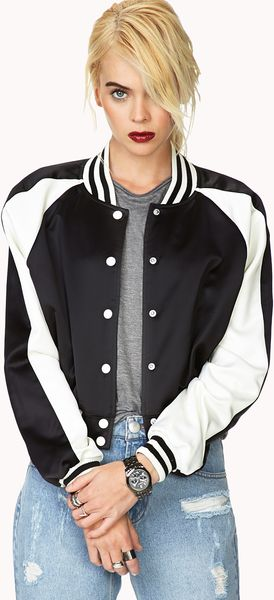 Forever 21 Fresh Satin Varsity Jacket in Black (BLACK/CREAM) - Lyst